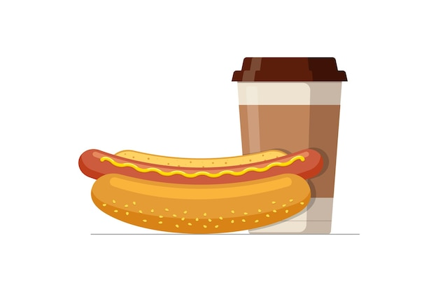 Fast food hot dog and disposable paper coffee cup hotdog sausage in bread bun with hot beverage fast