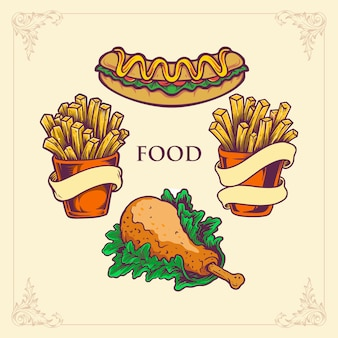 Fast food hotdog, chicken french fries set illustrations