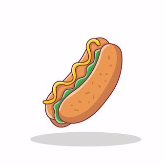Иллюстрация значка хот-дог быстрого питания