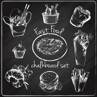 Fast food icon chalkboard