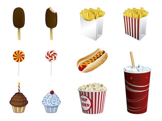 Fast food icon collection