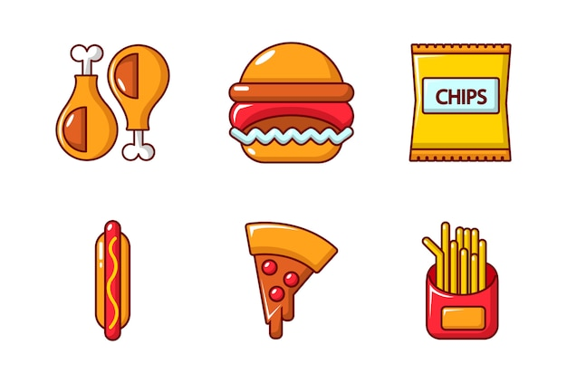 Fast food icon set. cartoon set of fast food vector icons set isolated