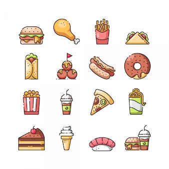 Fast food icon set,vector and illustration