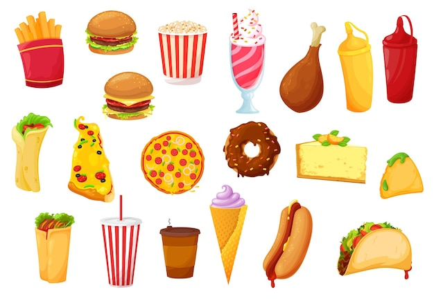Fast food icons of burger, pizza, meals, drinks and snacks. fast food cafe flat icons of potato fries, soda and sweets, chicken grill and hamburger