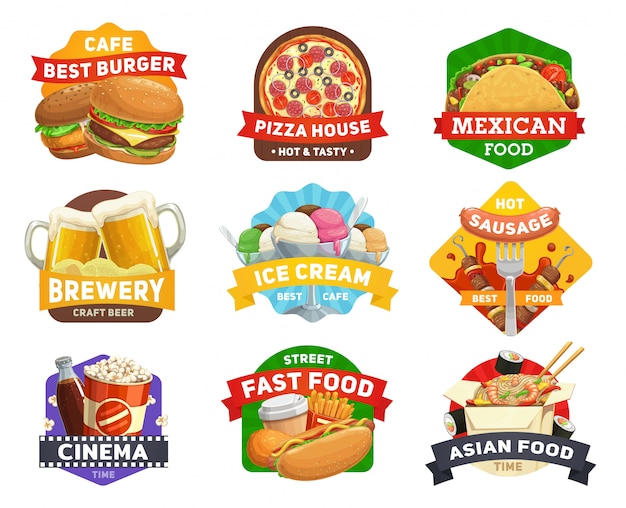 Fast food icons, burgers, sandwiches restaurant