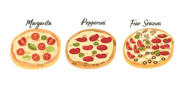 패스트 푸드 아이콘입니다. 버섯, 토마토 및 치즈, 페퍼로니, 마가리타 및 포시즌스 스트리트 정크 밀, 살라미 소시지, 올리브, 녹지 및 녹지를 곁들인 테이크아웃 스낵 피자. 만화 벡터 일러스트 레이 션
