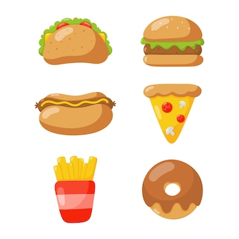 Набор иконок быстрого питания в мультяшном стиле, изолированные на белом фоне.