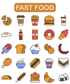 Fast food icons set, lineal color style