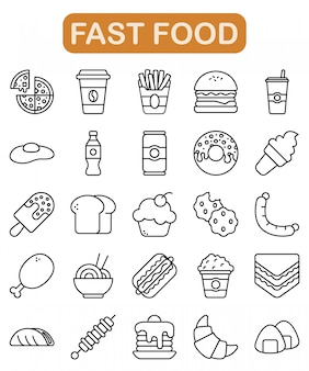 Fast food icons set, outline style
