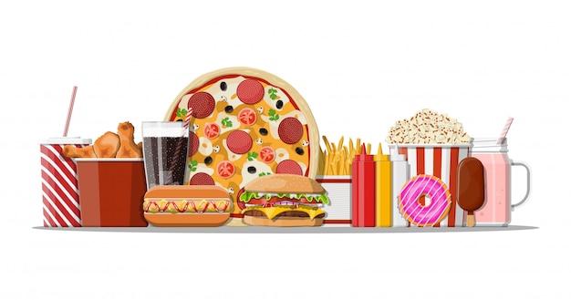 Набор иконок быстрого питания.
