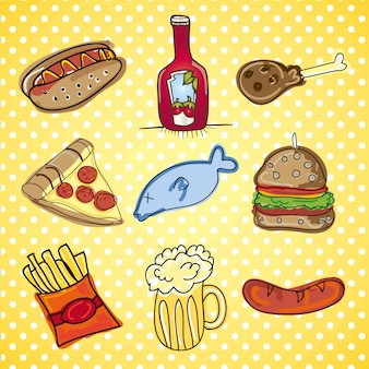 Fast food icons vector collection of snack food
