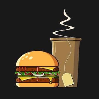 Fast food illustration flat style.