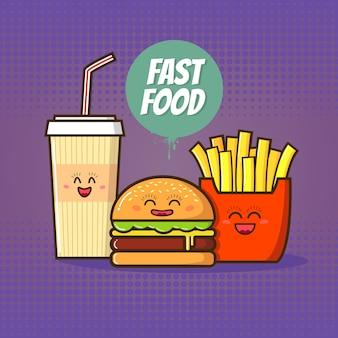 Иллюстрация быстрого питания. смешная кола, гамбургер и картофель в мультяшном стиле.