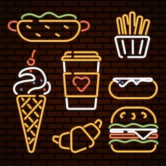 ファーストフードイラストネオンアイコンファーストフードベクトルホットドッグアイスクリームハンバーガードーナツ
