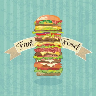 Fast food industry banner with super big hamburger vector illustration