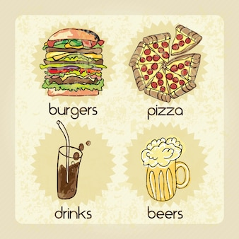 Fast food industry drinks beers burger pizza vector illustration
