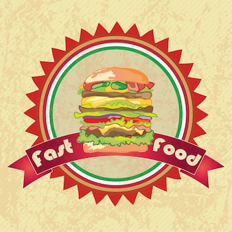 Fast food industry hamburger label grunge stylevector illustration
