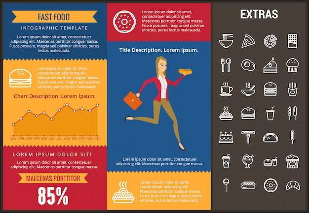 Fast food infographic template and elements.