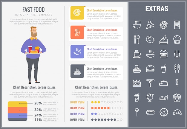 Fast food infographic template and icons set