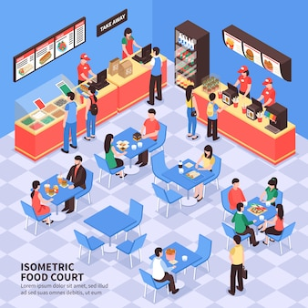 Illustrazione isometrica di fast food