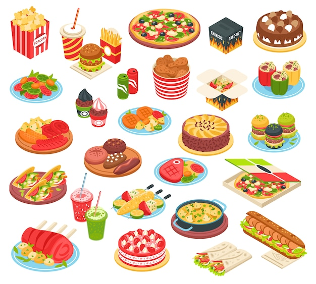 Fast food isometric set