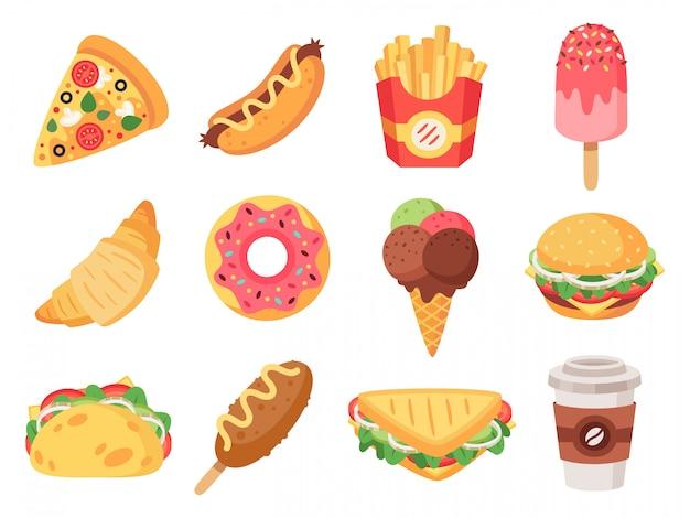 ファストフード。ジャンクフードとスナック、ハンバーガー、タコス、フライドポテト、ドーナツ、ピザの高カロリー食品。ファーストフードのアイコンセットを落書き。ホットドッグとクロワッサン、スナックとサンドイッチのイラスト