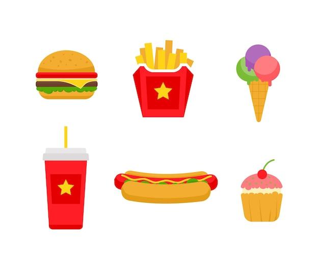 Набор нездоровой пищи быстрого приготовления концепция нездоровой пищи
