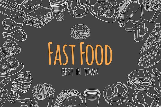 ファーストフードのレイアウト、ページテンプレート、スナック、ハンバーガー、フライドポテト、ホットドッグ、タコス、コーヒー、サンドイッチ、アイスクリームのカフェメニュースケッチイラスト