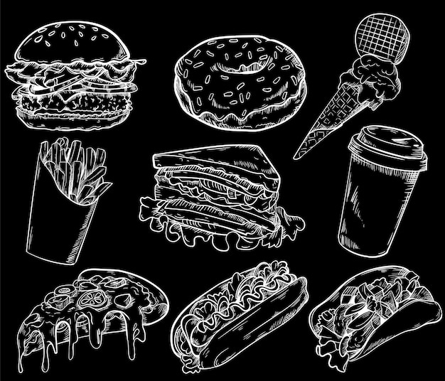 Fast food line collection background