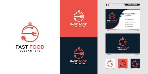 Дизайн логотипа быстрого питания с креативным уникальным стилем premium векторы