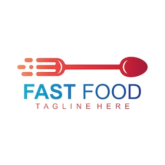 Fast food logo, go food sign vector logo, cutlery arrow logo
