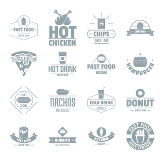 Fast food logo icons set