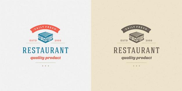 レストランのメニューやカフェのバッジに適したファーストフードのロゴサンドイッチシルエット