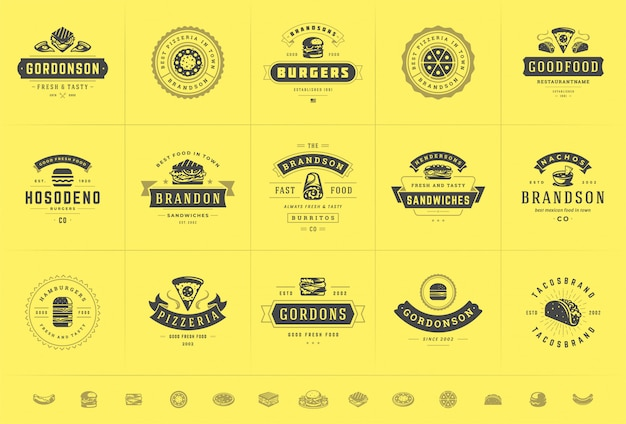 Fast food logos set good for pizzeria or burger shop and restaurant menu badges with food silhouette