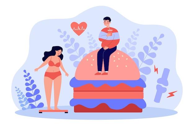 과체중 문제와 높은 콜레스테롤로 고통받는 패스트 푸드 애호가
