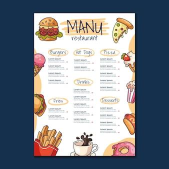 Макет шаблона главного меню быстрого питания для дизайна кафе и ресторана для печати