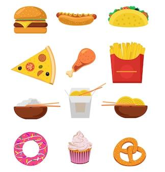 ファーストフードミールセット。ファーストフードのアイコン。チーズバーガー、フライドポテト、カリカリに揚げたチキンレッグ、艶をかけられたドーナツ、ソフトソーダ、コーヒーカップ、ホットドッグ、ピザ。