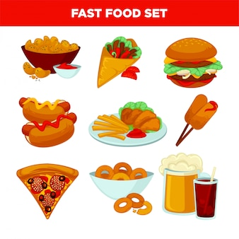 Fast food meal vector flat icons set