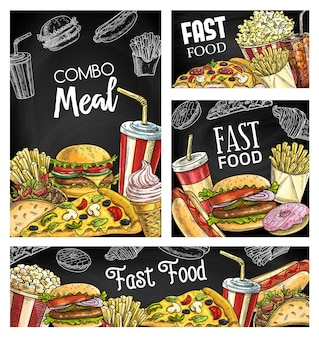 Fast food meals and drinks chalkboard sketch banners