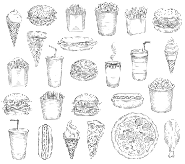 Fast food meals, drinks and snacks sketches