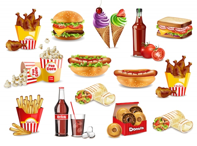 Fast food meals set collection