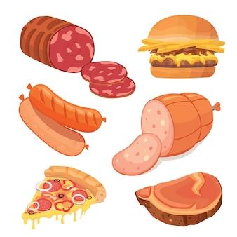 Мясо быстрого приготовления набор иконок еды.