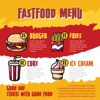 Fast food menu cartoon illustration