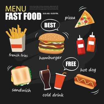Fast food menu on chalkboard background flat design