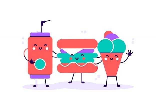 Меню быстрого питания. кола, гамбургер, картофель фри и мороженое. легко редактировать. плоский стиль современный дизайн векторные иллюстрации