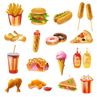 Fast food menu colorful icons set