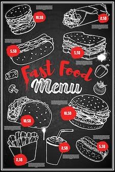 ファーストフードメニューカバーレイアウト。ハンバーガー、ホットドッグ、タコス、ブリトー、ソーダの手描きイラストメニュー黒板。