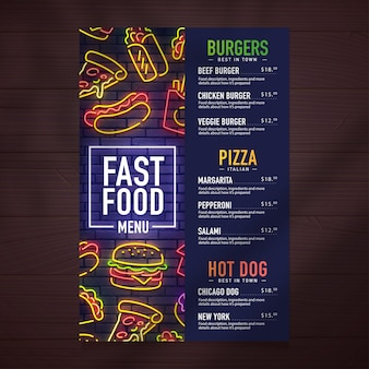 Fast food menu design and food neon sing illustration. Premium Vector