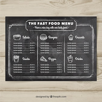 Fast food menu design in chalk style