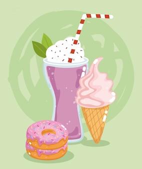 Ресторан меню быстрого питания нездоровый молочный коктейль, мороженое и сладкие пончики